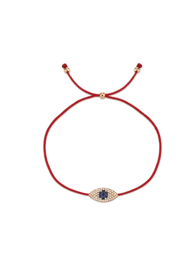 14K Rose Gold, Diamond and Blue Sapphire Eye Bracelet (.11 Ct/.06 Ct)