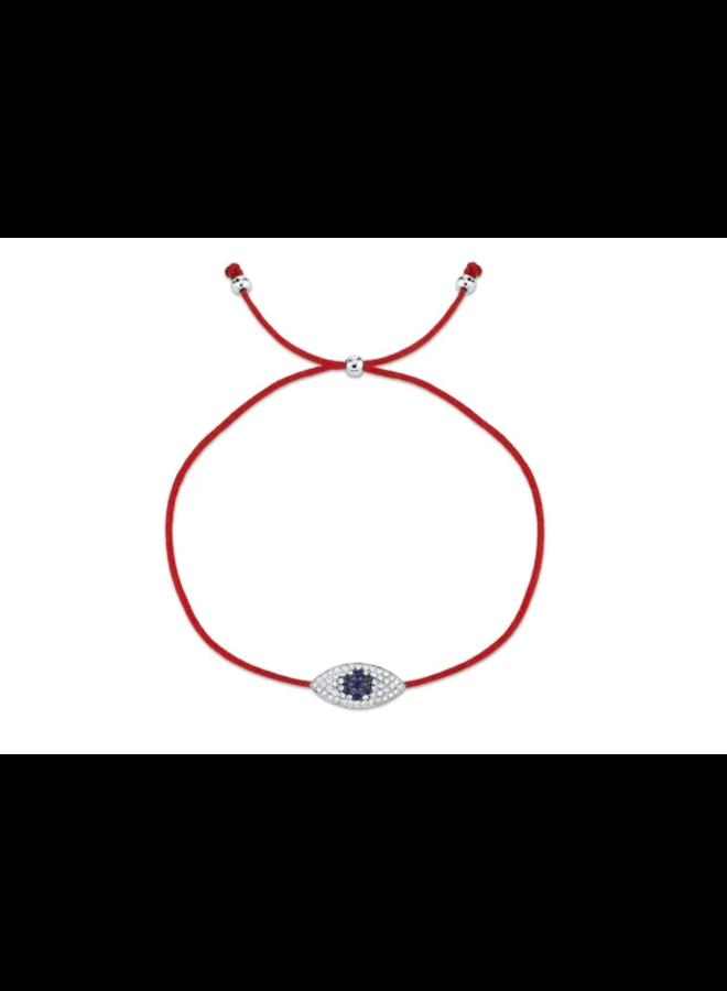 14K White Gold, Diamond and Blue Sapphire Eye Bracelet (.11 Ct/.06 Ct)