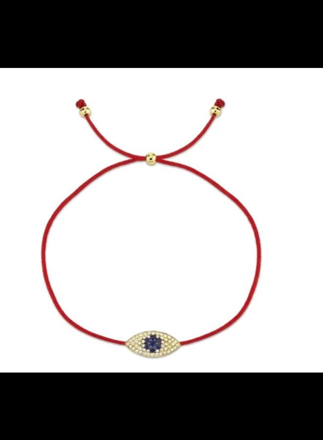 14K Yellow Gold, Diamond and Blue Sapphire Eye Bracelet (.11 Ct/.06 Ct)