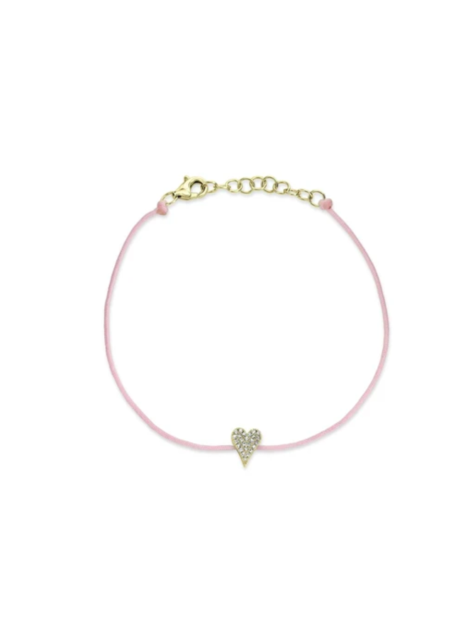 14K Yellow Gold and Diamond Pave Heart Bracelet on Pink Cord (.06Ct )