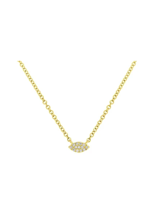 14K Yellow Gold and Diamond Marquis Pave Necklace (.04 Ct)