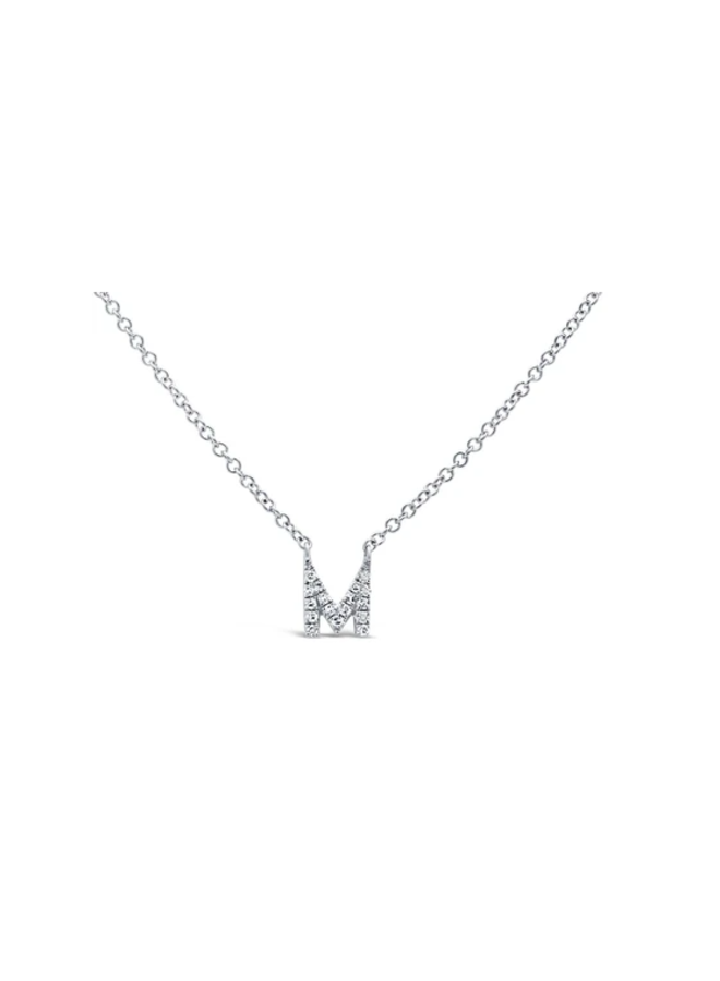 14K White Gold and Diamond Necklace -  Initial M (.05 Ct )