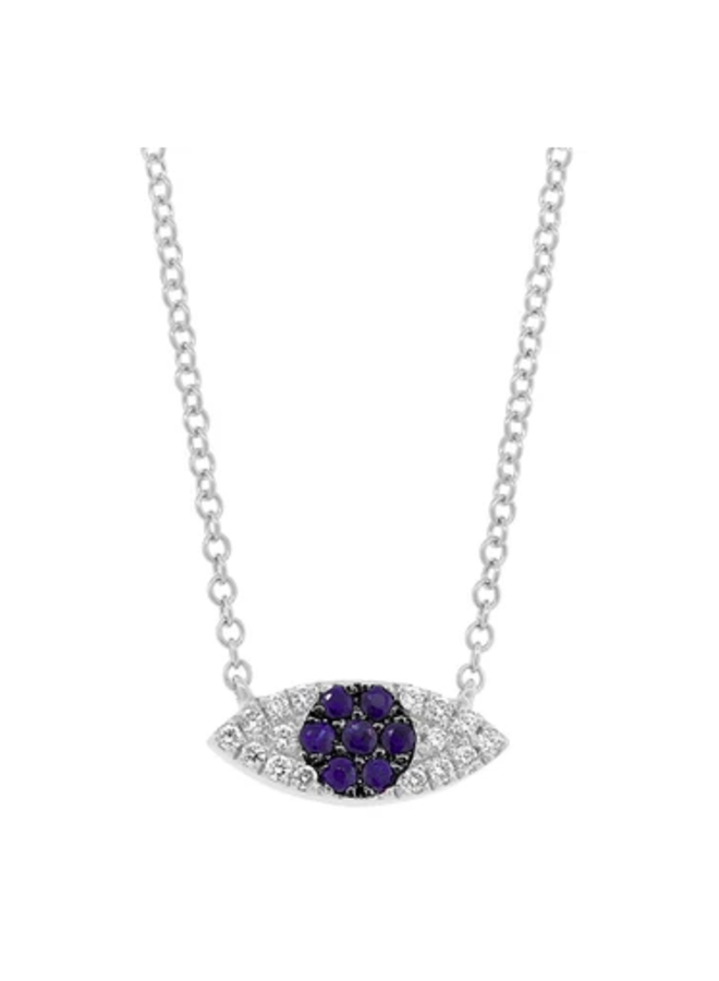 14K White Gold, Diamond and Blue Sapphire Eye Necklace (.07 Ct/.11 Ct)