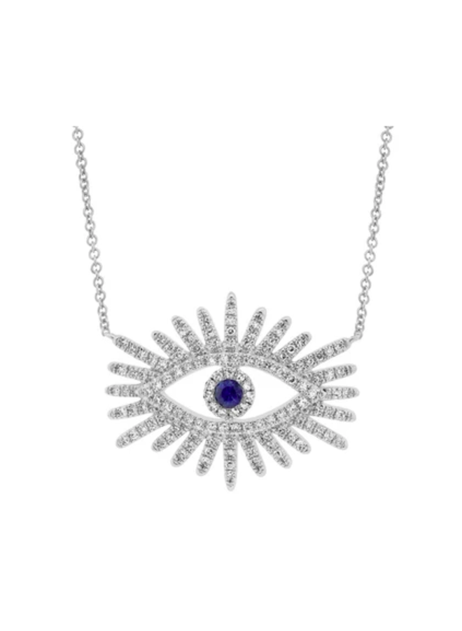 14K White Gold, Diamond and Blue Sapphire Eye Starburst Necklace (.30 Ct/.07 Ct)