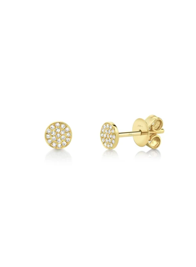 14K Yellow Gold and Diamond Pave Stud Earrings (.07 Ct)
