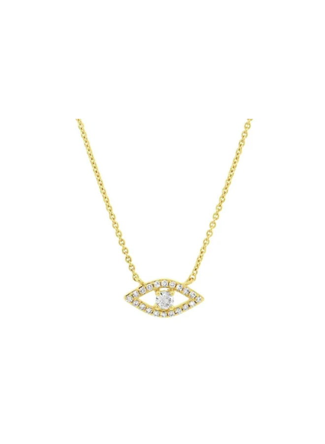 14K Yellow Gold and Diamond Eye Necklace (.14 Ct)