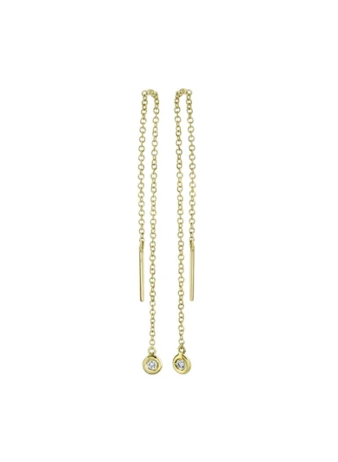 14K Yellow Gold and Diamond Threader Earrings (.04 Ct)