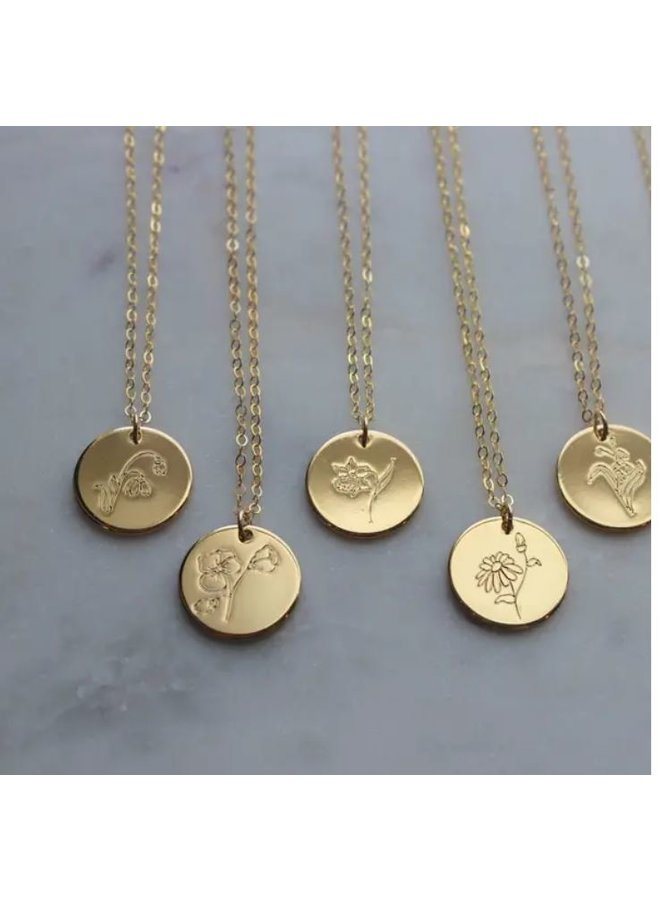 Gold Birth Flower Necklace-October-Marigold