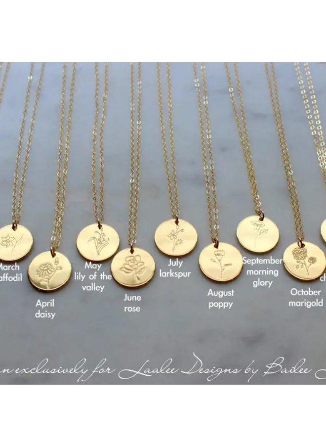 Gold Birth Flower Necklace-August-Poppy