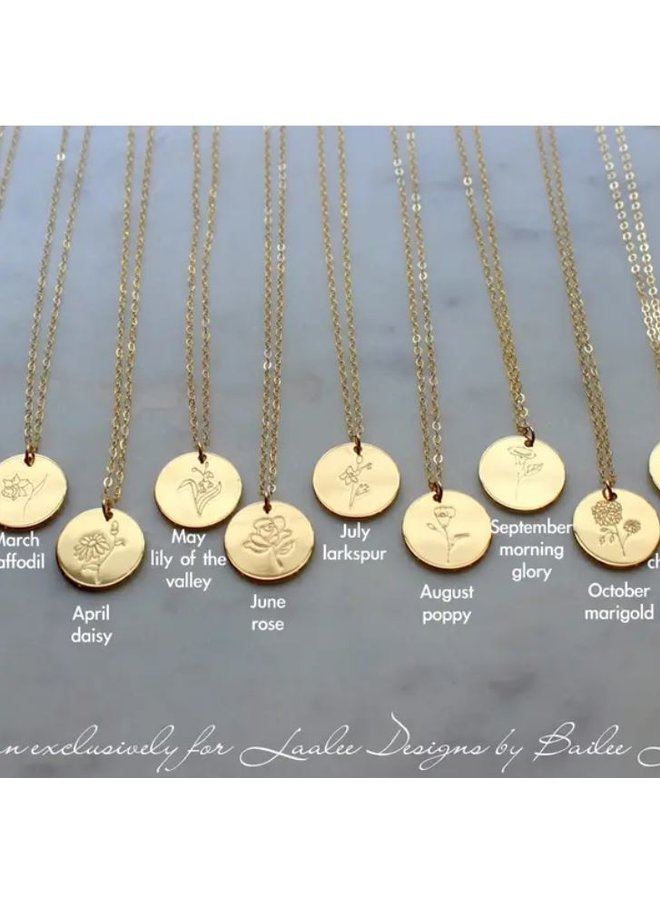 Gold Birth Flower Necklace-June-Rose
