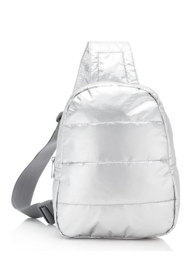 Puffer Crossbody Backpack Metallic Silver
