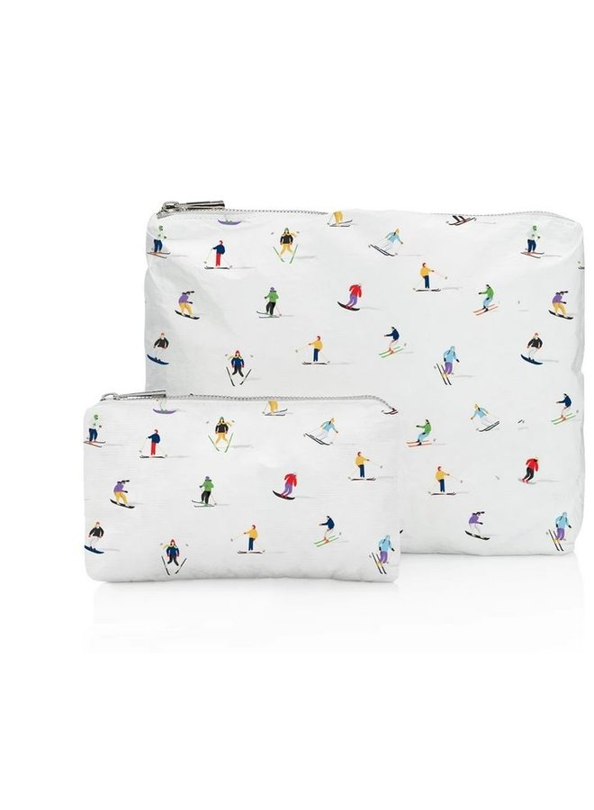Set of 2 Travel Pouches- Dancing Skiers