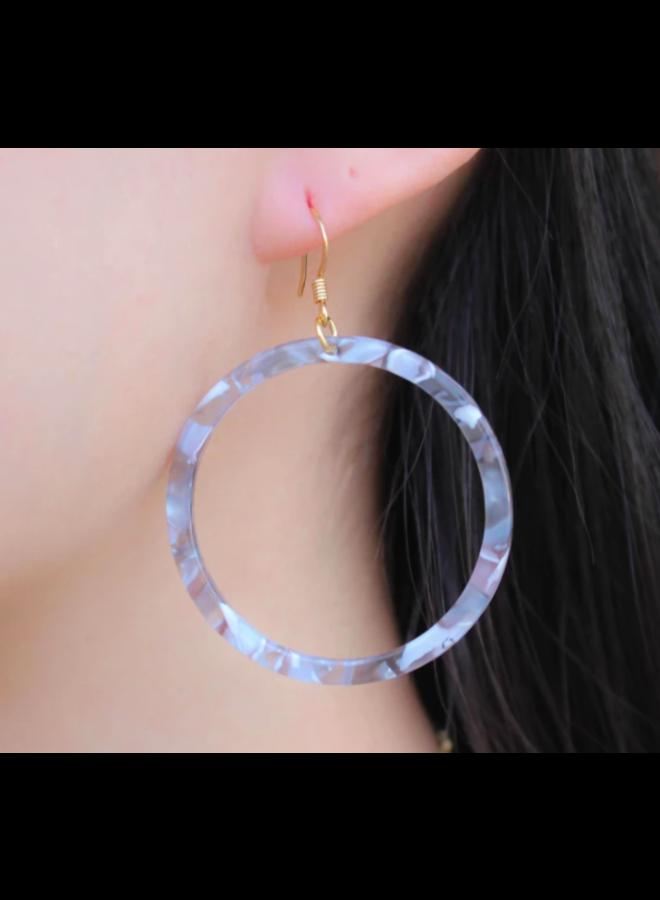 Blakely Tortoiseshell Hoop Earrings- Gray Acrylic
