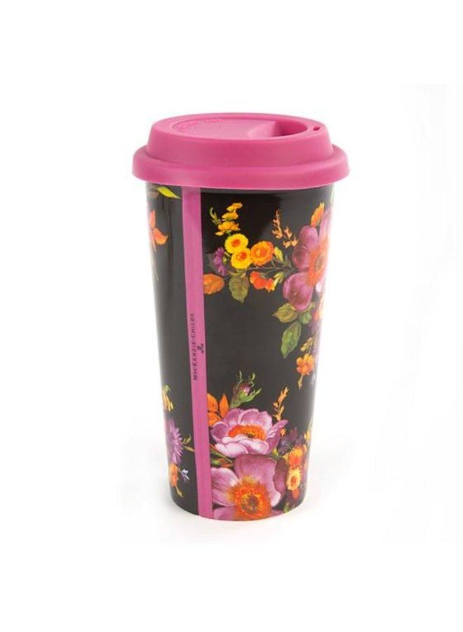 Flower Market Travel Cup - Black