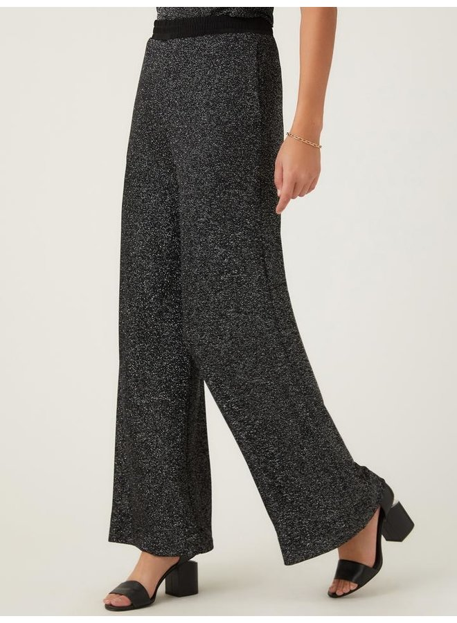 Wide Leg Pants Black and Silver
