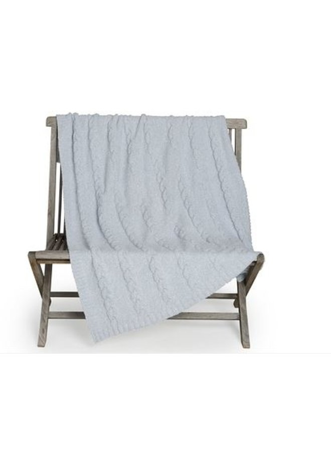 CozyChic Heathered Cable Blanket - Ocean