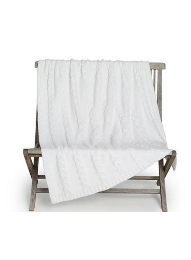 CozyChic Heathered Cable Blanket - Pearl
