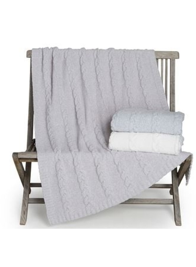 CozyChic Heathered Cable Blanket - Oyster