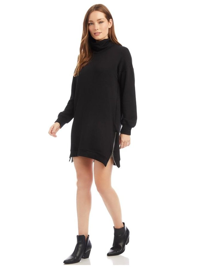 Mock Neck Zipper Dress