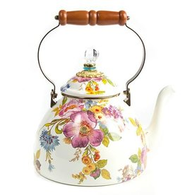 MacKenzie-Childs Flower Market 3 Quart Tea Kettle-White