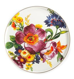 MacKenzie-Childs Flower Market Round Tray- White
