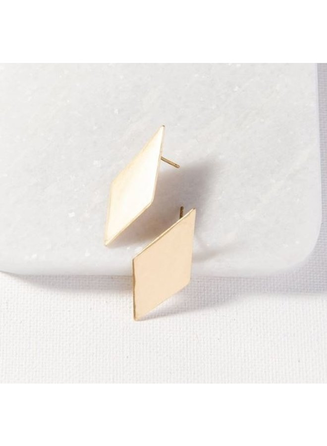"Small Brass Diamond Post Earrings (1.5"")"