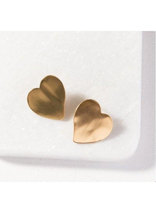 """Small Heart Post Earrings (1"""")"""
