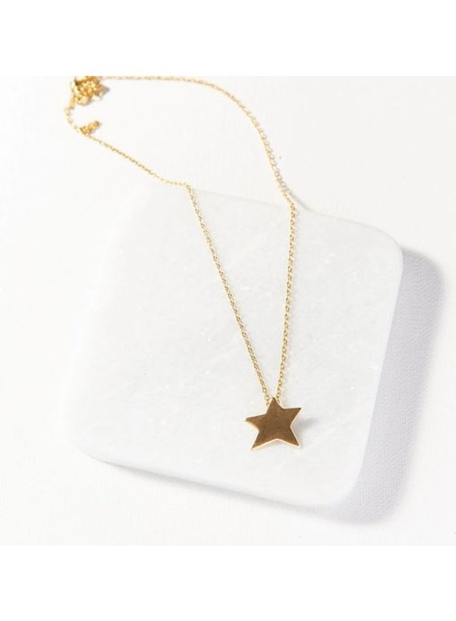 "Brass Star Necklace (16"")"