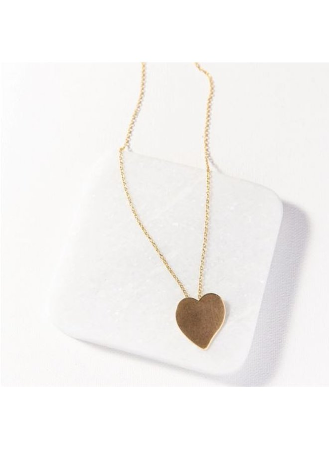 "Brass Heart Necklace (16"")"