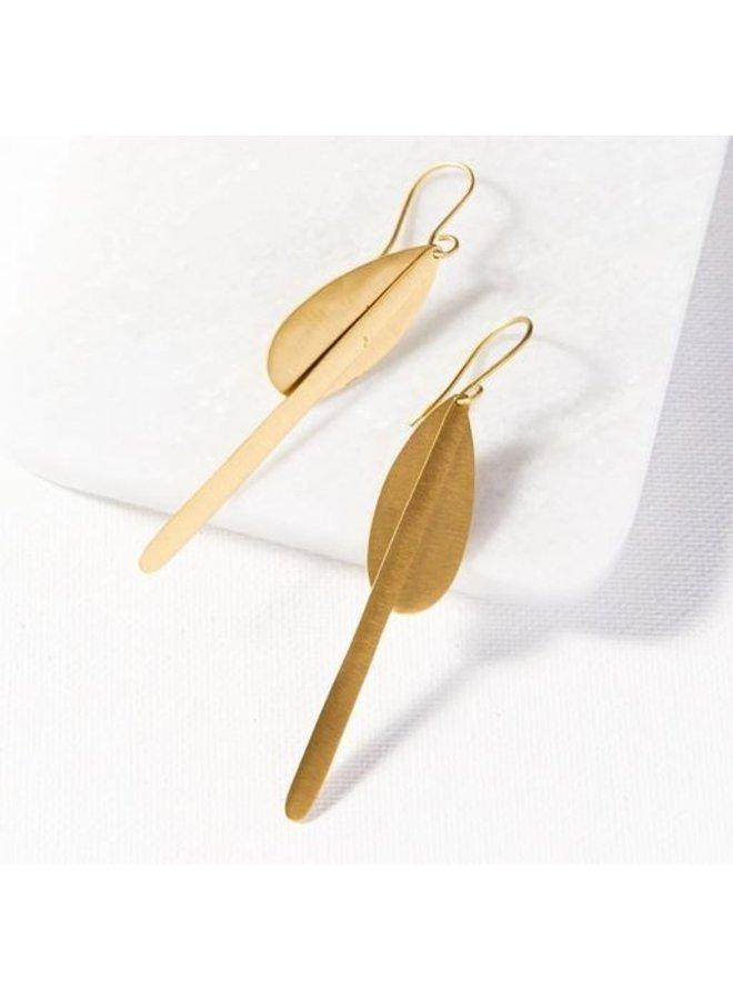 """Matte Brass Drop Dangle Earrings (3"""")"""