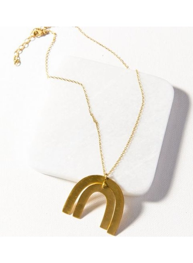 """Matte Brass Rainbow 2 Piece Necklace (16""""-18"""")"""