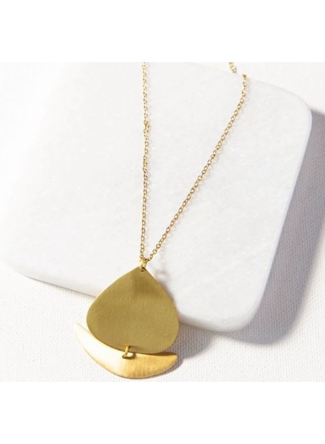 "Matte Brass Boat 2 Piece Necklace (16""-18"")"