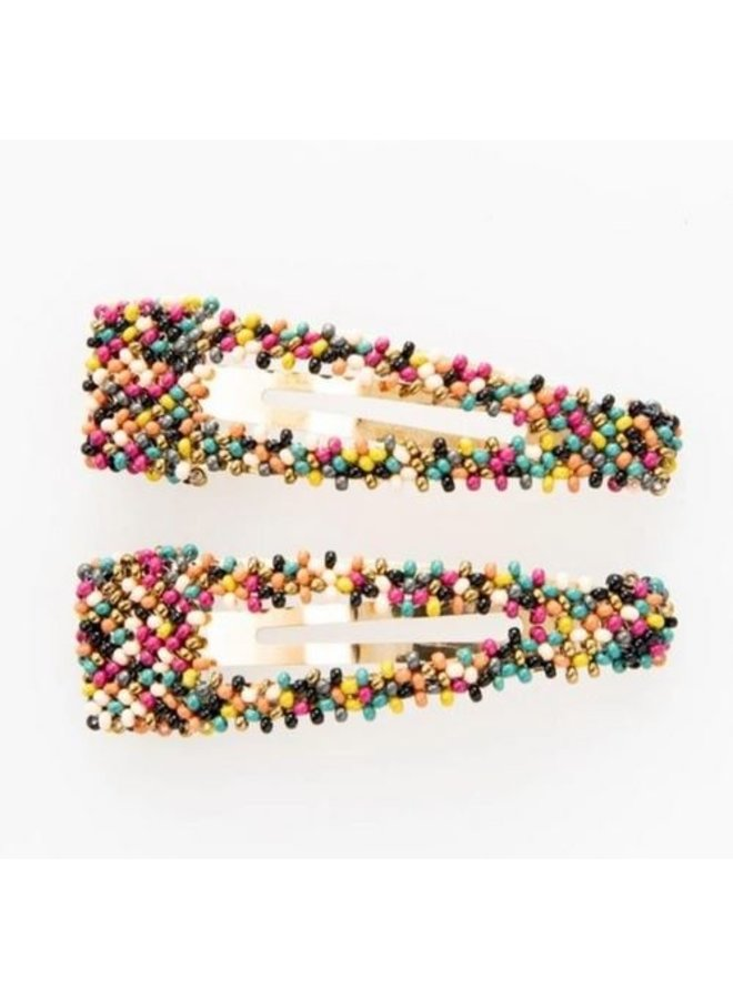 """Muted Confetti Beaded Hair Clip (2.25"""") - 2 Pack"""