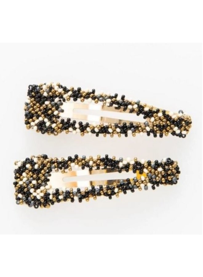 "Black Confetti Beaded Hair Clip (2.25"") - 2 Pack"
