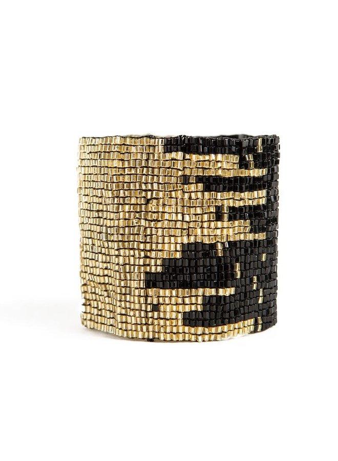 """Black and Gold Stretch Bracelet (2""""W)"""
