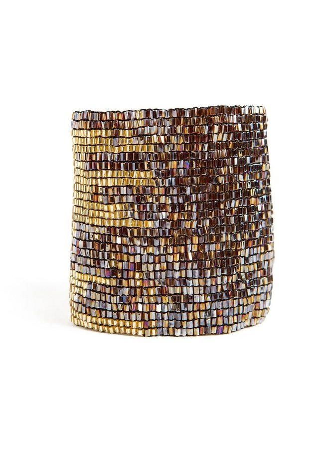 """Brown and Gold Stretch Bracelet (2""""W)"""