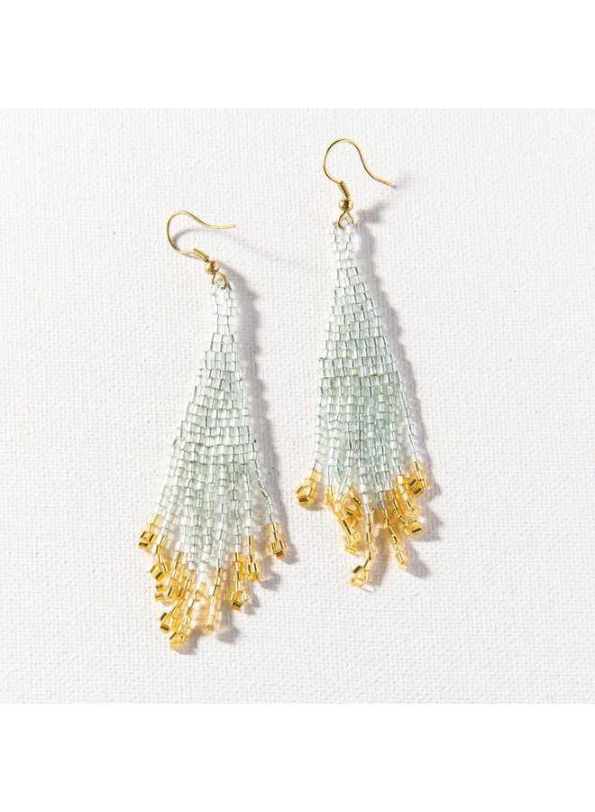 "Sky and Gold Small Fringe Earrings (3.75"")"