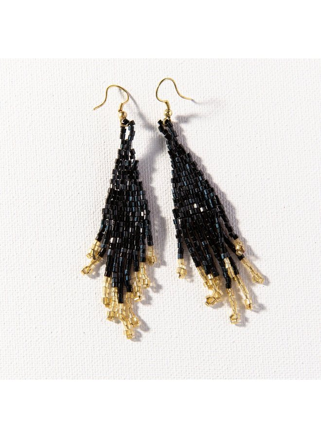"""Black and Gold Small Fringe Earrings (3.75"""")"""