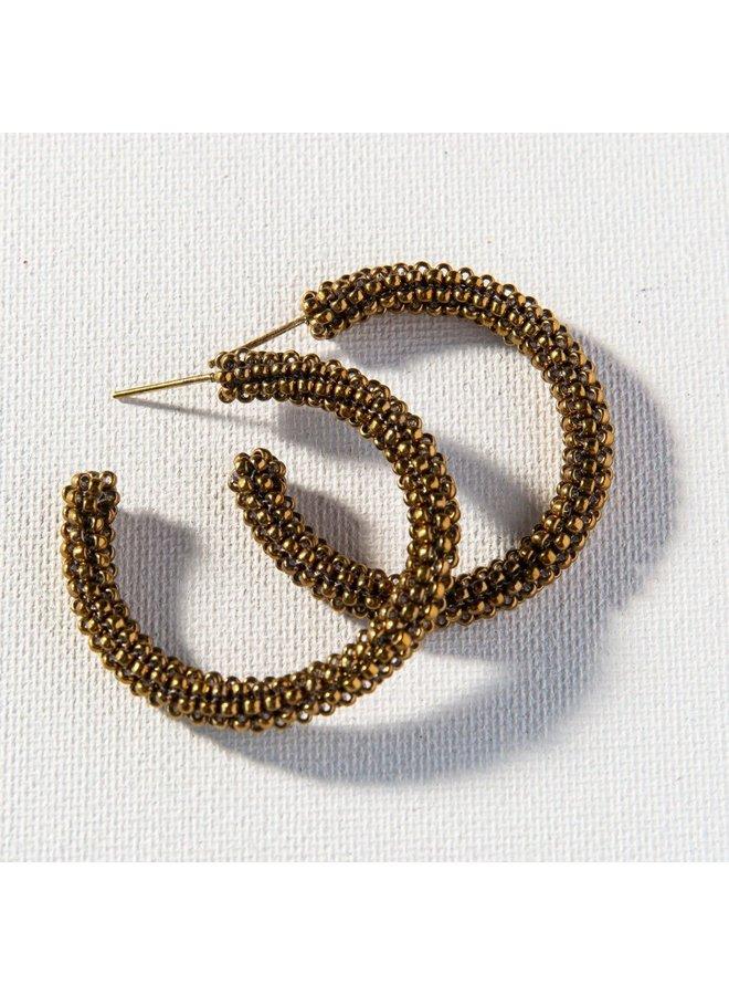 """Gold Small Hoop Earrings (1.25"""")"""