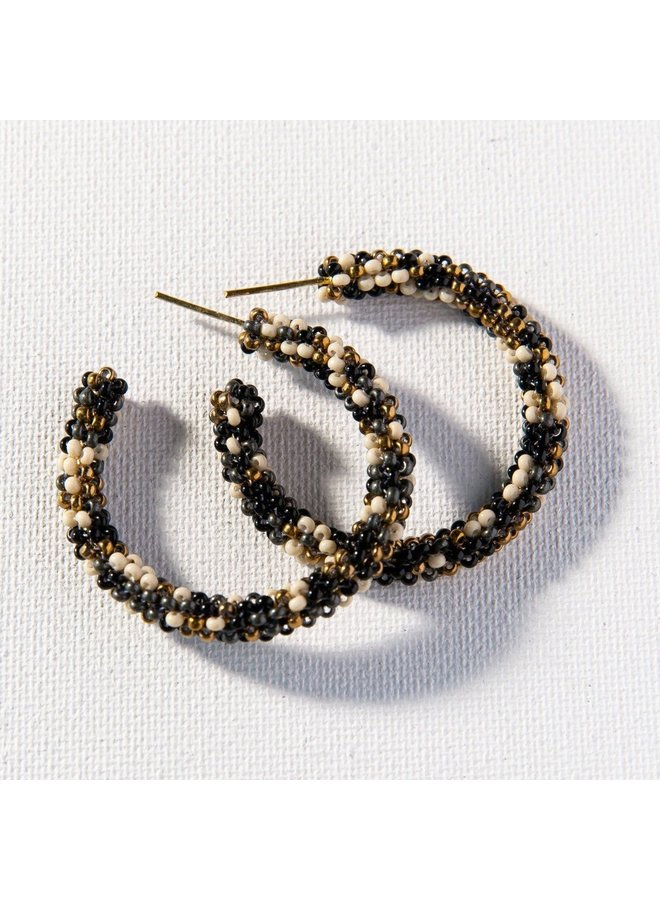 "Black Confetti Small Hoop Earring (1.25"")"