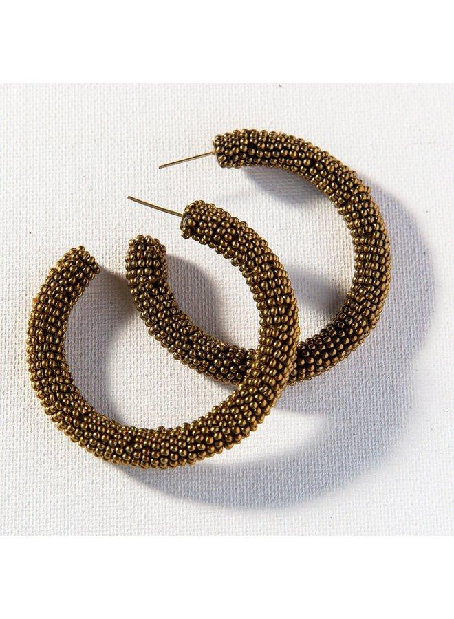 """Solid Gold Seed Bead Hoop (2.5"""")"""