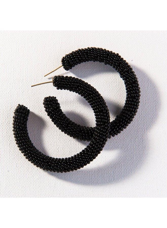 """Solid Black Seed Bead Hoop (2.5"""")"""