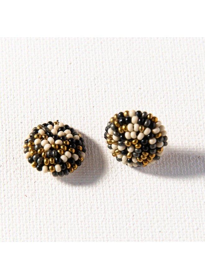 Black Confetti Small Post Earrings