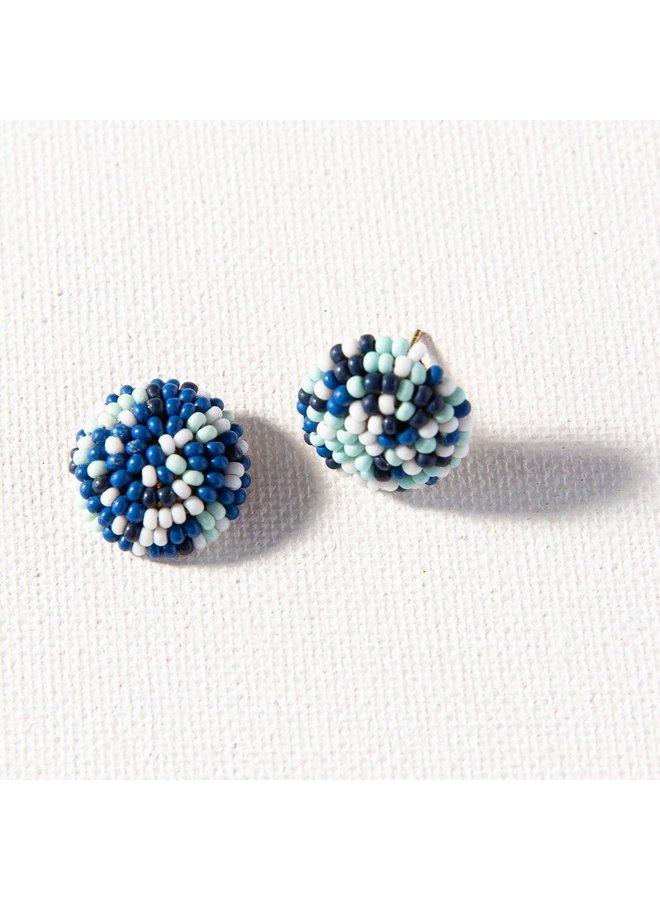 """Blue Multi Button Post Earrings (.5"""")"""