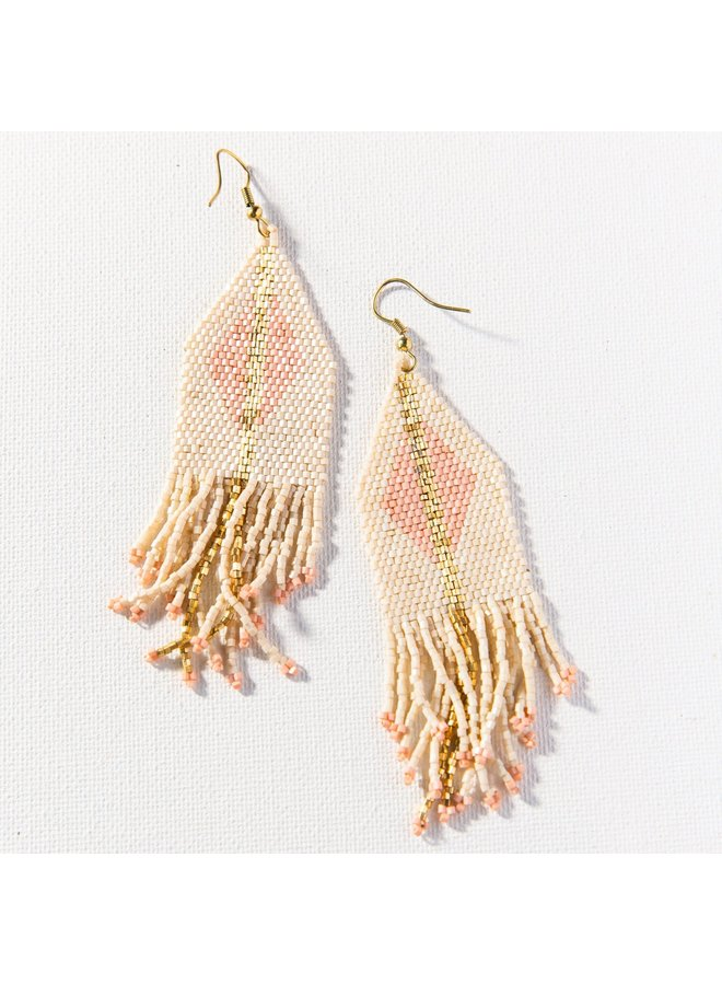 """Ivory with Blush Luxe Diamond Gold Stripe Fringe Earring (4.25"""")"""