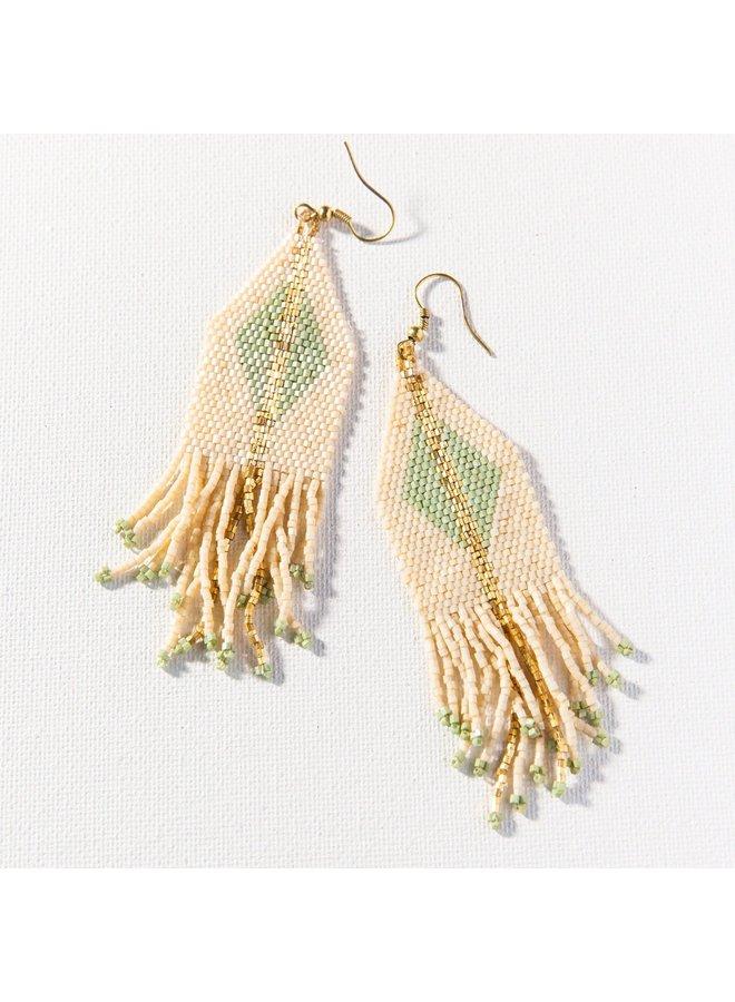 """Mint With Ivory Diamonds with Gold Stripe Stretch Beaded Bracelet (2.25""""W)"""