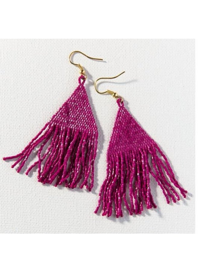 "Magenta Luxe Petite Fringe Earrings (3.25"")"