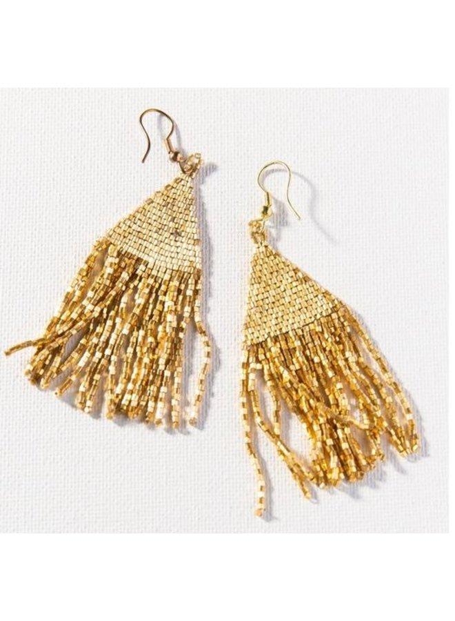 "Gold Luxe Petite Fringe Earrings (3.25"")"
