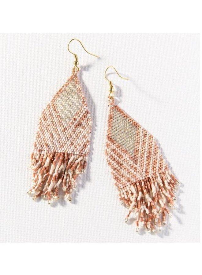 """Rose Gold Ivory Luxe Stripe Earrings (4"""")"""