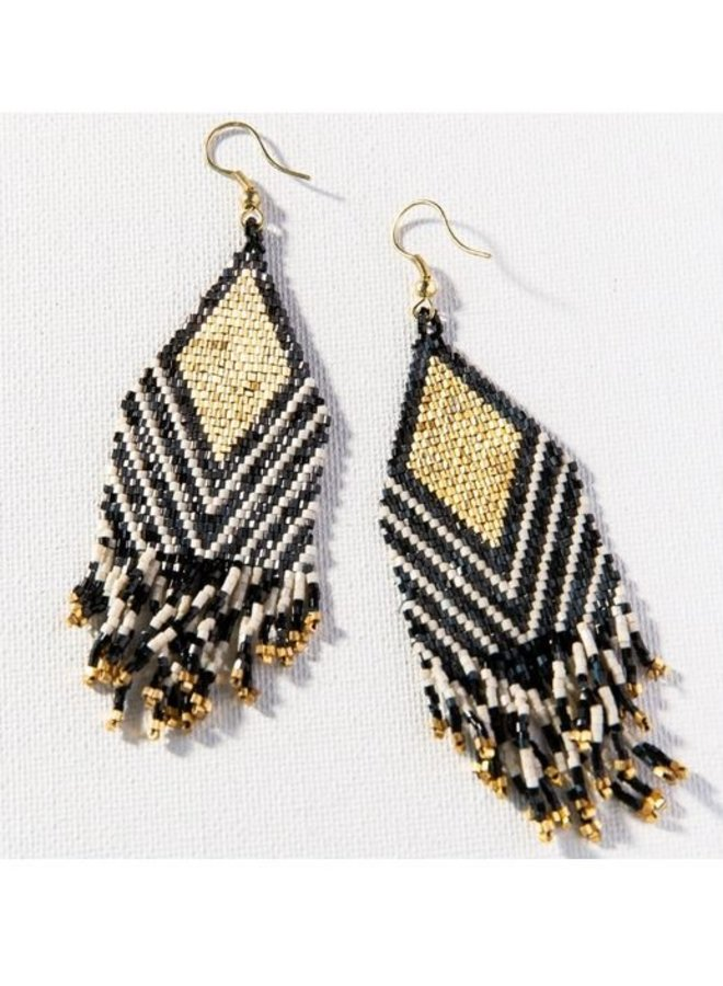 "Black Ivory Stripe Luxe Earrings with Fringe (4"")"